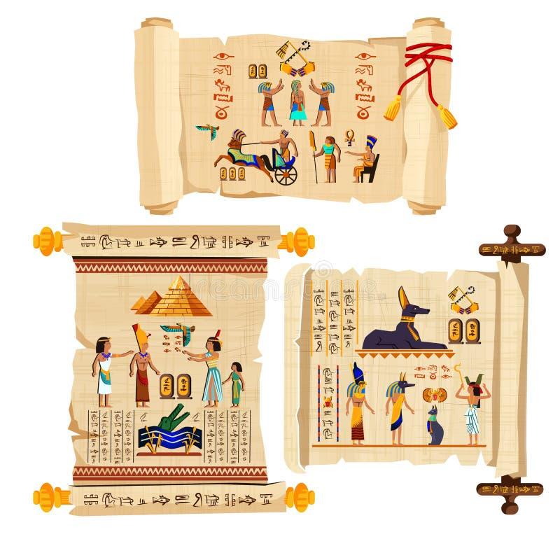 古埃及纸莎草纸卷动画片传染媒介 向量例证