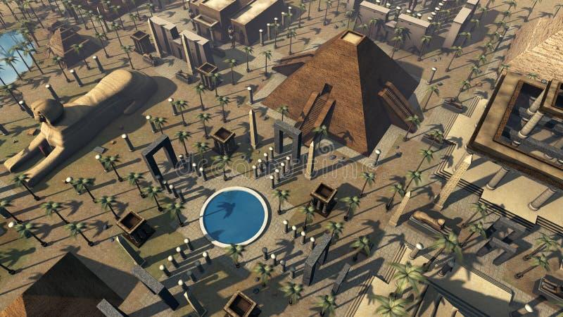 古埃及风景鸟` s眼睛视图 3d翻译 皇族释放例证