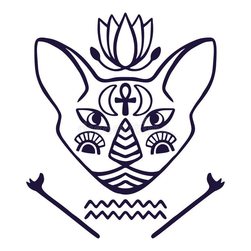 古埃及,与埃及象形文字的标志手拉的纹身花刺猫孤立的