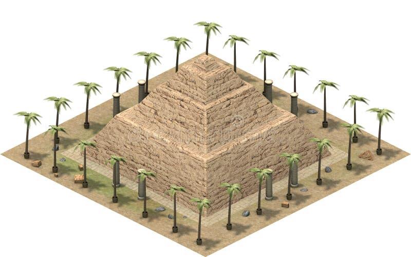 古埃及,台阶金字塔的等量大厦 3d翻译 向量例证