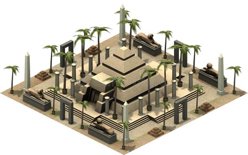 古埃及,金字塔的等量大厦 3d翻译 向量例证