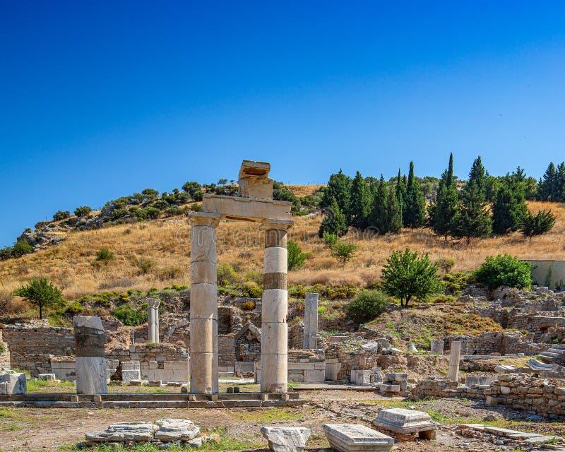 古城以弗所的废墟 免版税库存照片