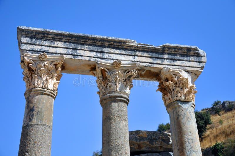 古城以弗所,伊兹密尔,土耳其的专栏 免版税库存图片
