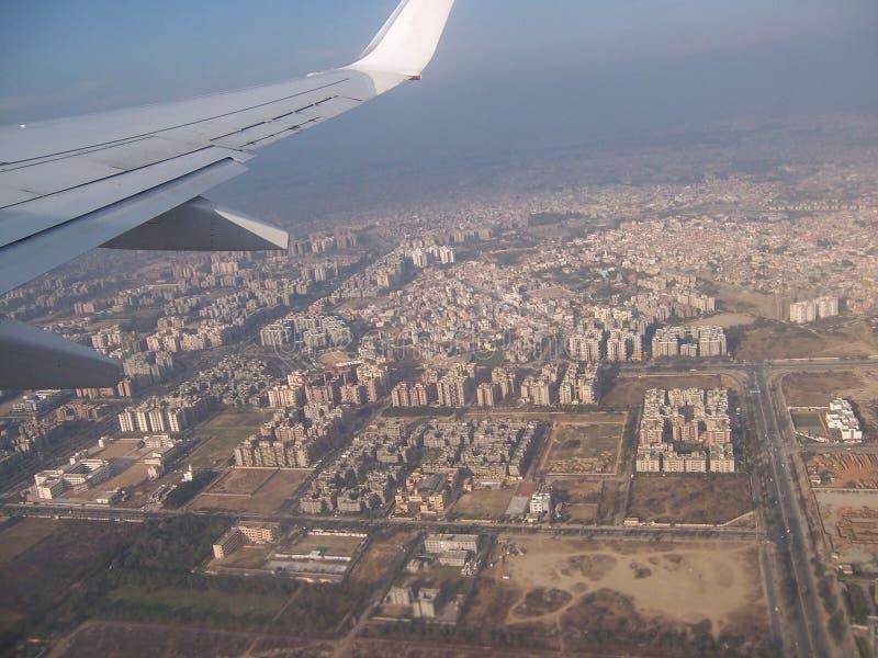 古城孟买的看法从飞机客舱的  库存照片