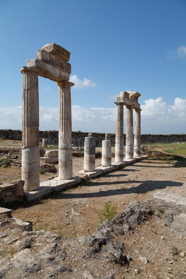 古城希拉波利斯废墟  棉花堡 ?? 免版税库存图片