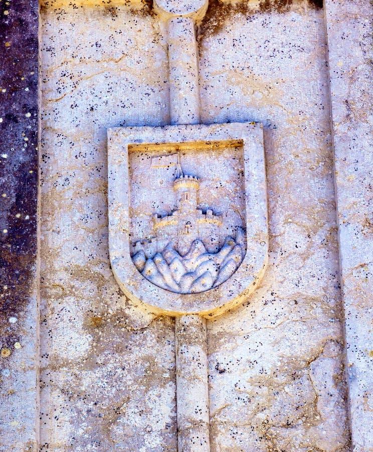 古城标志Usseira渡槽Obidos葡萄牙 库存图片
