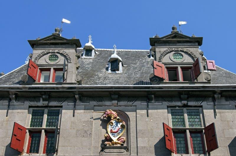 古城的门面在荷恩称房子 免版税图库摄影