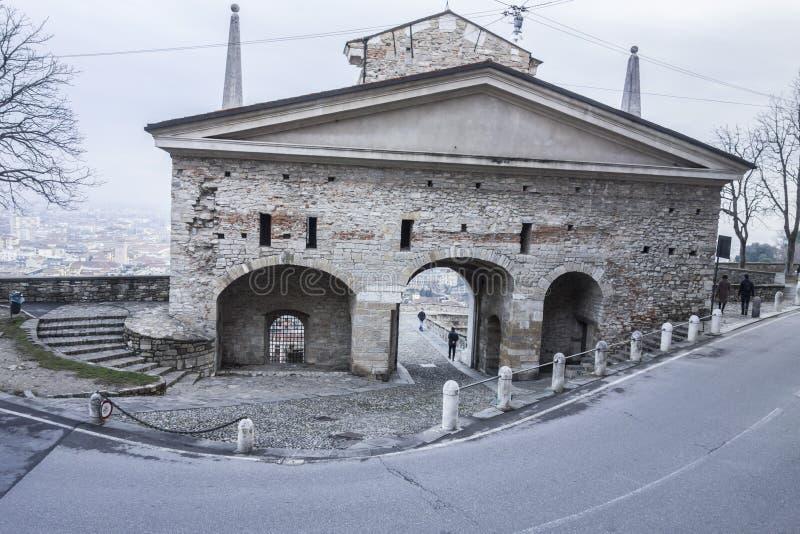 古城门入口Citta亚尔他,波尔塔圣Gioacomo, Bergam 免版税库存图片