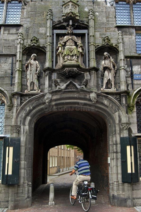 古城门Gistpoort在米德尔堡 免版税库存图片