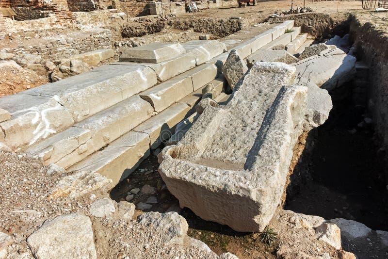 古城Heraclea Macedon的腓力二世-修造的Sintica废墟  图库摄影