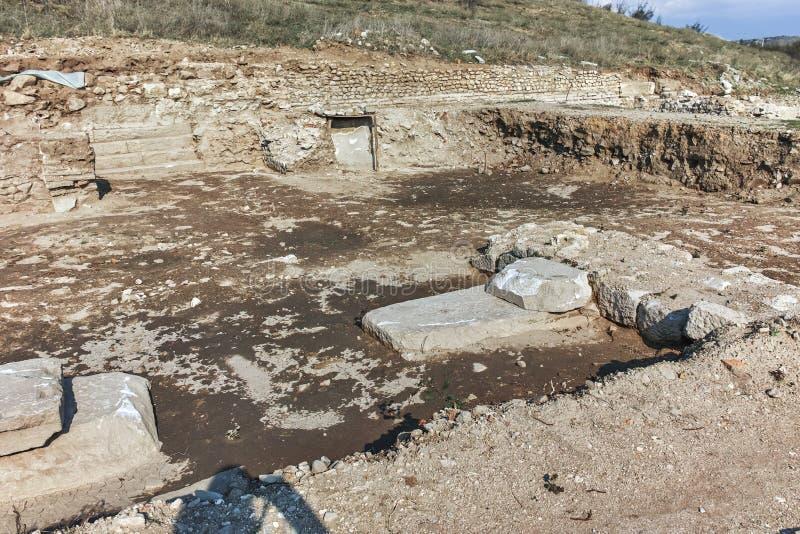 古城Heraclea Macedon的腓力二世-修造的Sintica废墟  免版税图库摄影