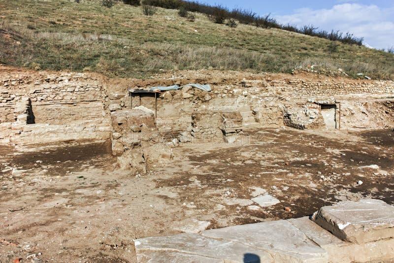 古城Heraclea Macedon的腓力二世-修造的Sintica废墟  库存照片