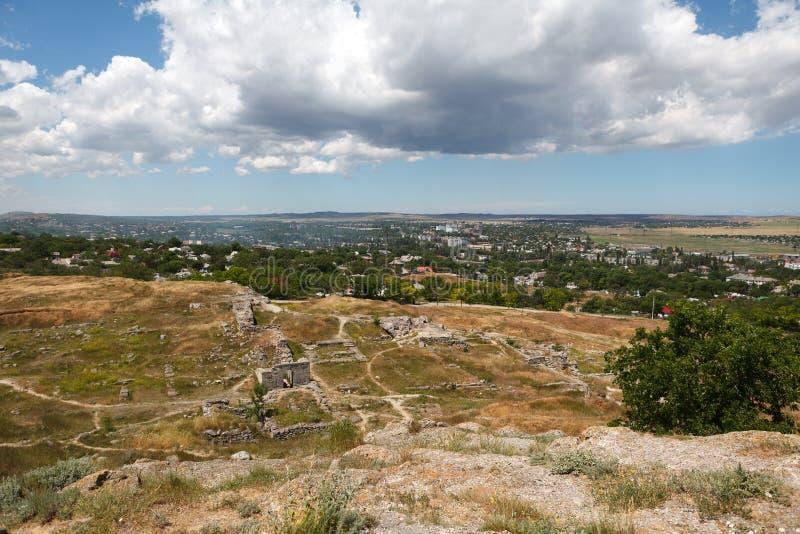 古城Pantikapaion,现代市的挖掘刻赤,乌克兰 图库摄影