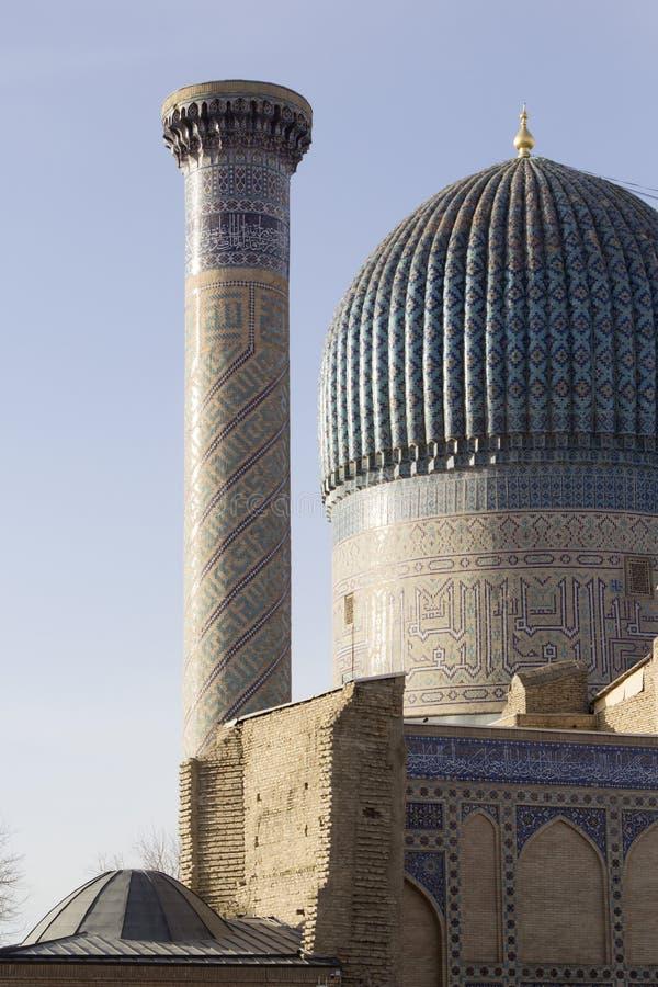 古尔埃米尔陵墓的片段在撒马而罕,乌兹别克斯坦 库存图片