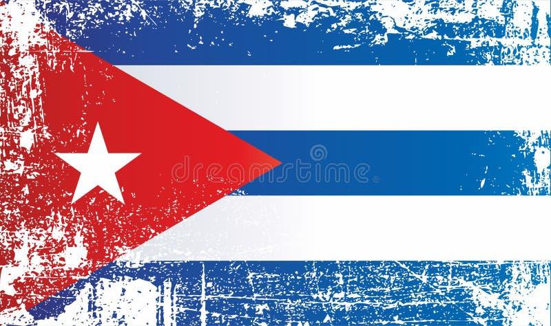 古巴共和国的旗子,与一个红色三角和一个五针对性的星的蓝色白色 皇族释放例证
