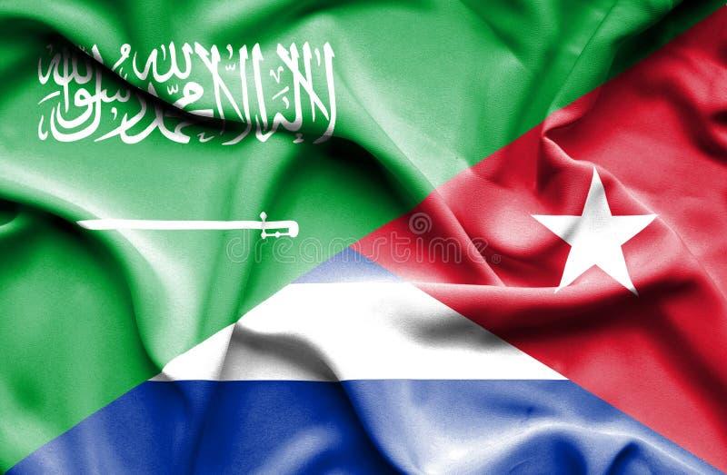 古巴和沙特阿拉伯的挥动的旗子 皇族释放例证