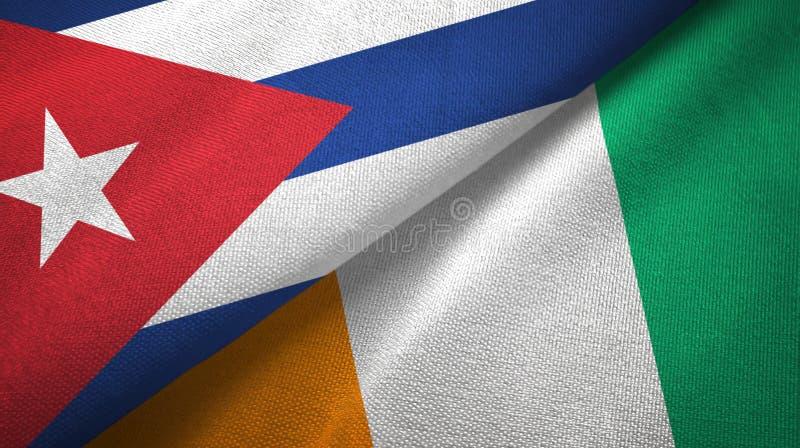 古巴和科特迪瓦象牙海岸两旗子织物纹理 向量例证