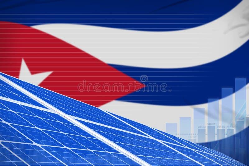 古巴太阳能力量数字图表概念-现代自然能工业例证 3d例证 皇族释放例证