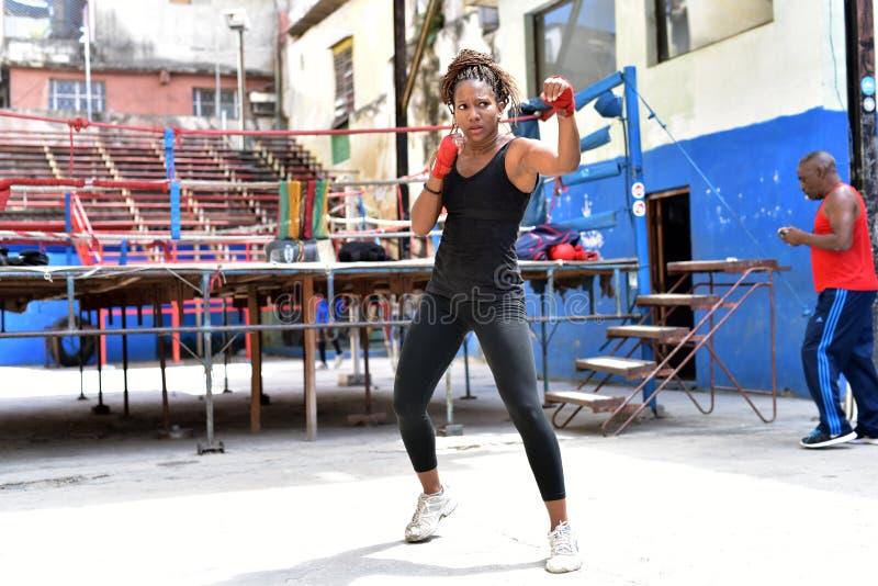 古巴拳击手训练在哈瓦那,古巴 免版税图库摄影