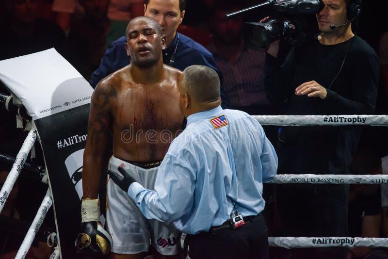 古巴拳击手Yunier在战斗期间的多尔蒂科斯L, 库存图片
