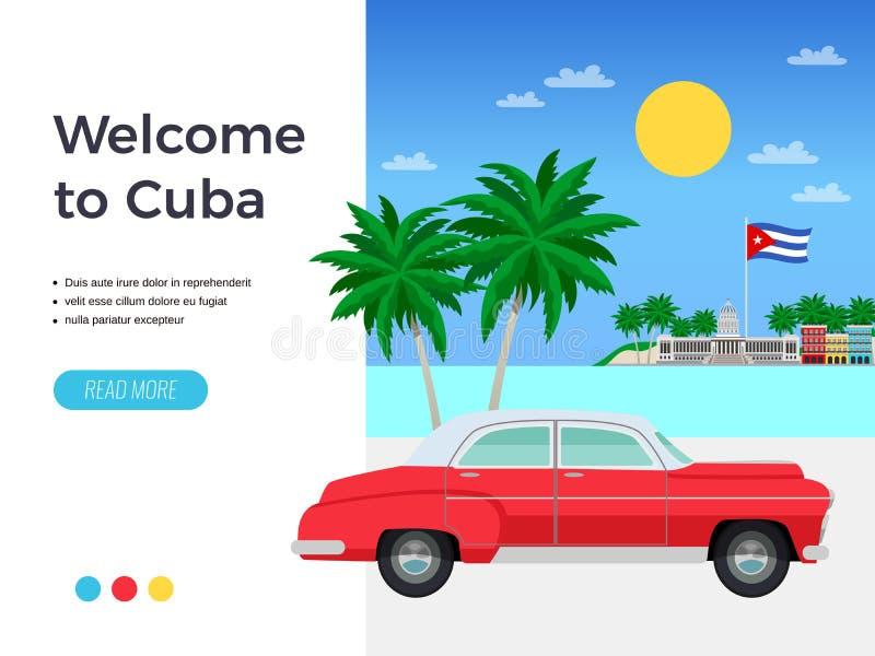 古巴旅行海报 库存例证