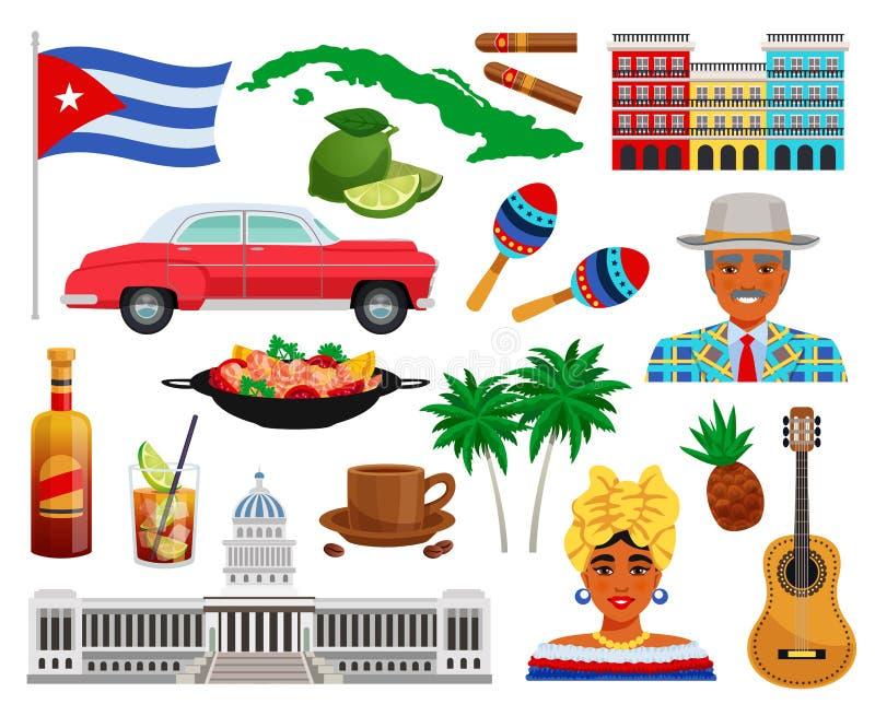 古巴旅行集合 库存例证