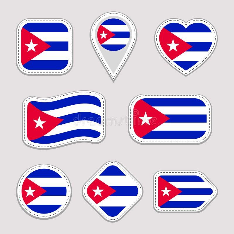 古巴旗子传染媒介集合 古巴贴纸收藏 被隔绝的几何象 国家国家标志徽章 网,体育 库存例证