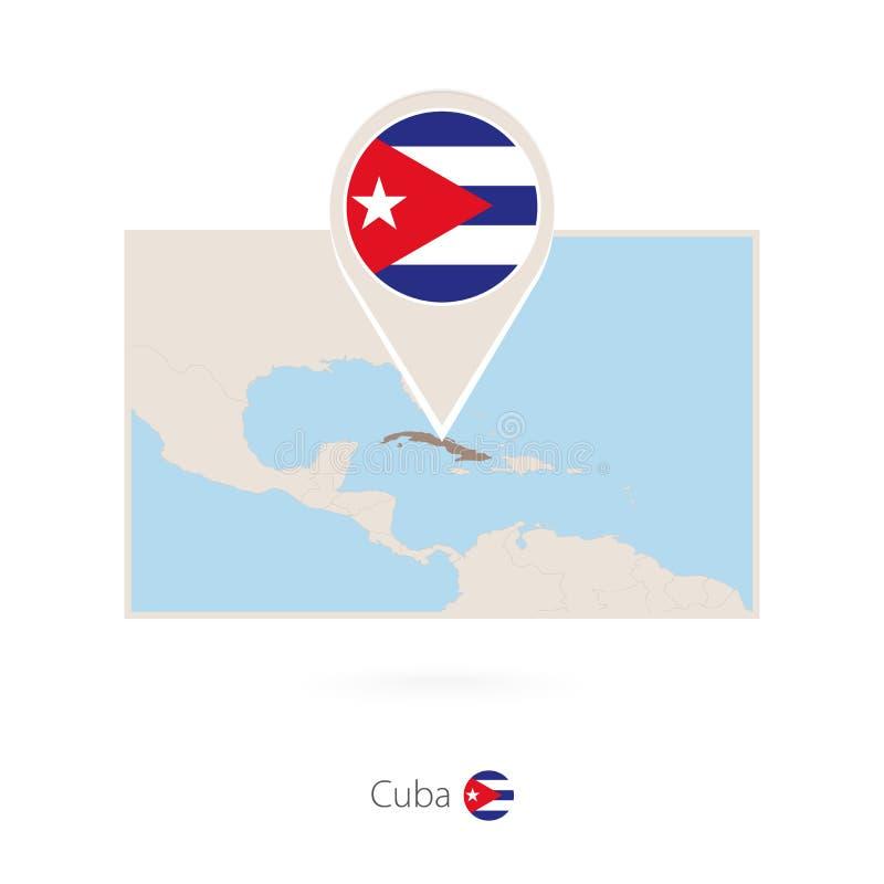 古巴的长方形地图有古巴的别针象的 向量例证