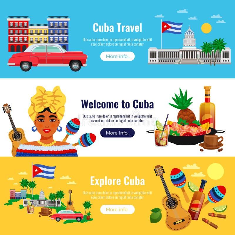 古巴被设置的旅行横幅 向量例证
