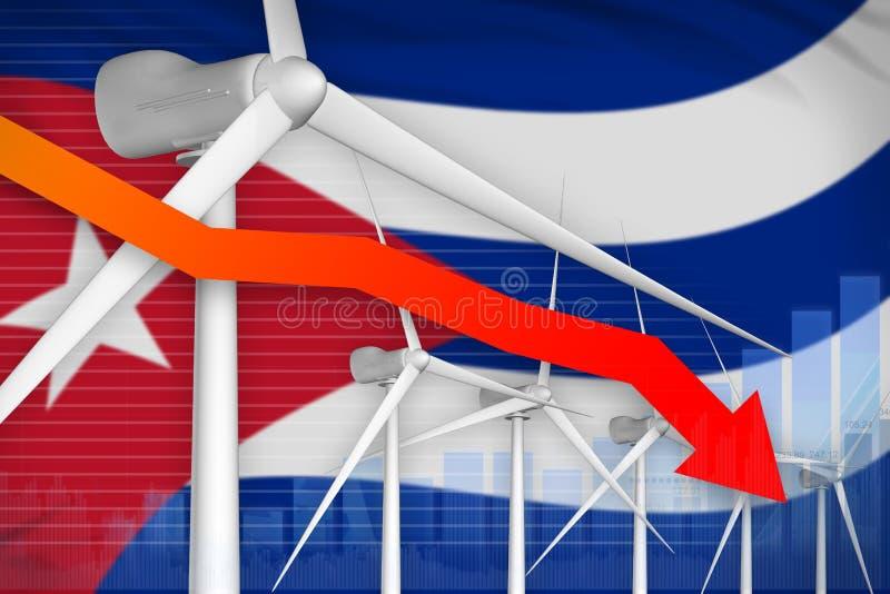 古巴降低图,在-环境自然能工业例证下的箭头的风能力量 3d例证 向量例证