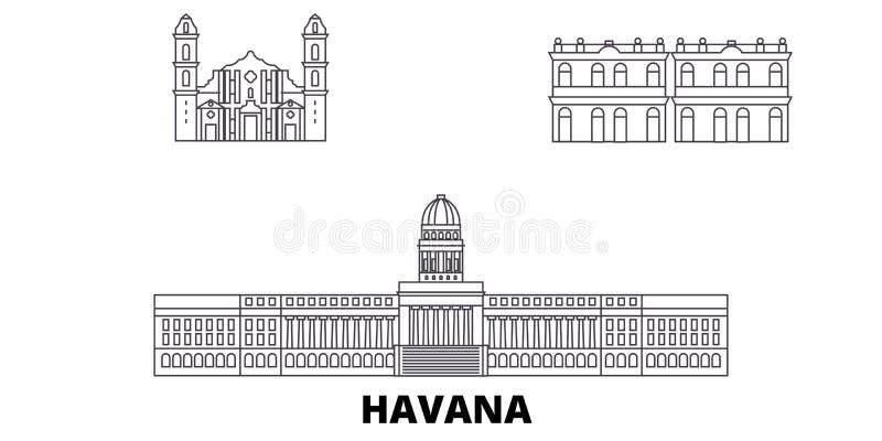 古巴,哈瓦那城市分界线旅行地平线集合 古巴,哈瓦那市概述城市传染媒介例证,标志,旅行视域 向量例证