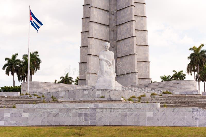 古巴,哈瓦那- 2017年5月5日:纪念碑的看法对何塞马蒂的 复制文本的空间 免版税库存照片