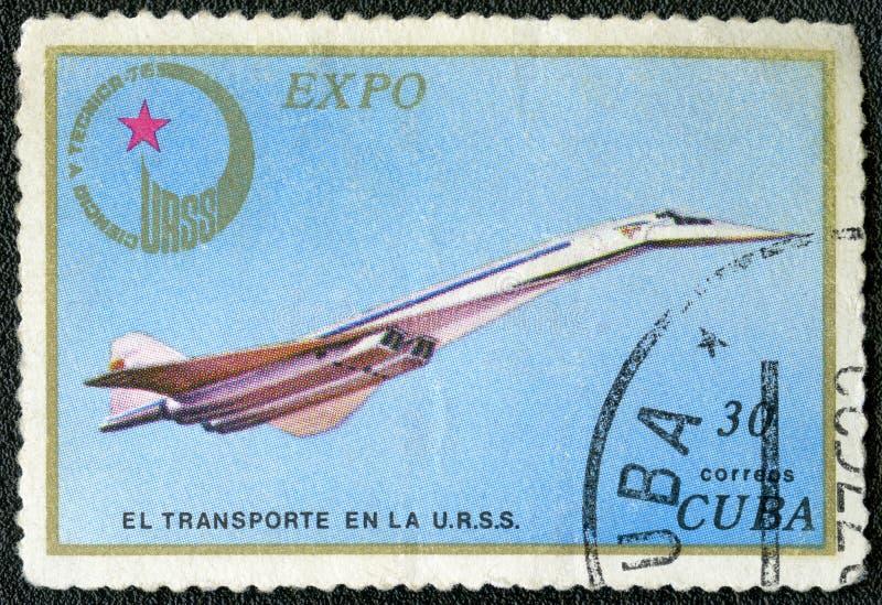 古巴- 1976年:展示图波列夫超音速喷气机Tu144,系列商展1976年苏联 免版税图库摄影