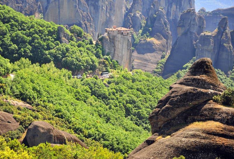 古希腊修道院在迈泰奥拉山公园  图库摄影
