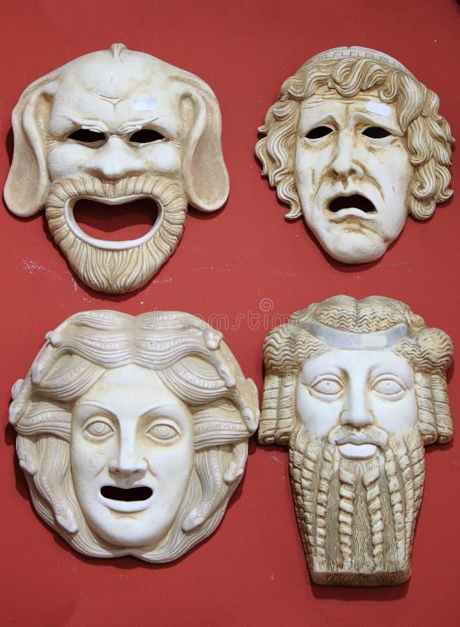古希腊剧院面具 免版税库存图片