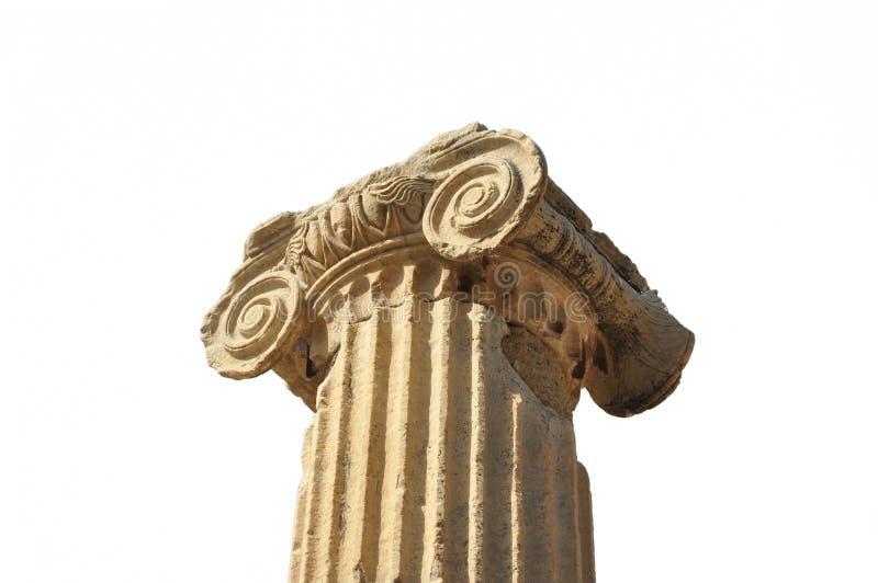 古希腊建筑学对象大理石柱离子样式 免版税图库摄影