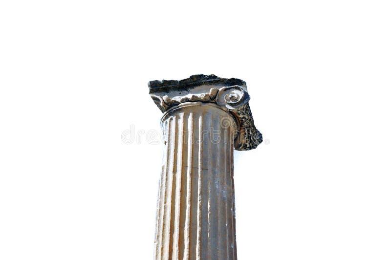 古希腊建筑学对象大理石柱离子样式 免版税库存图片