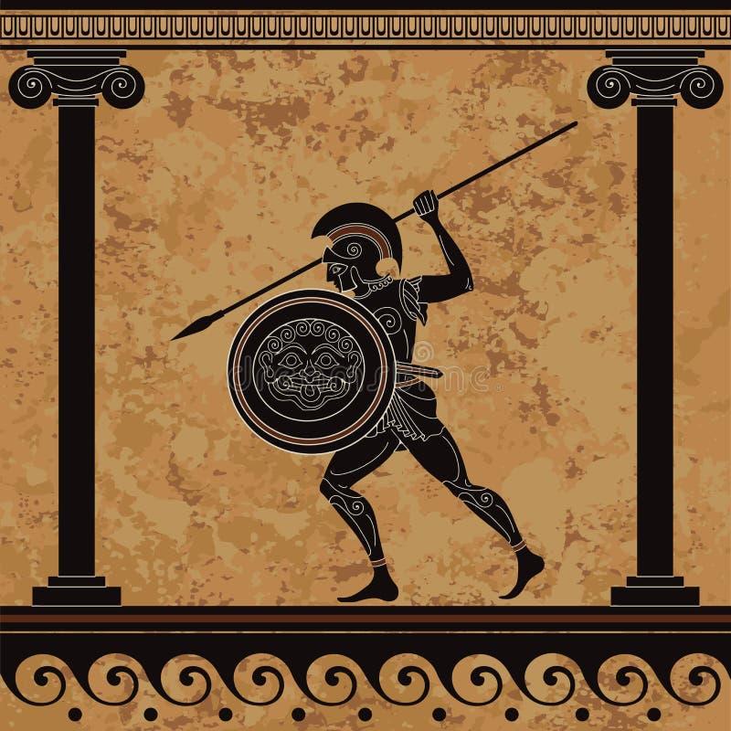 古希腊战士 黑图瓦器 斯巴达 古老文明文化 皇族释放例证