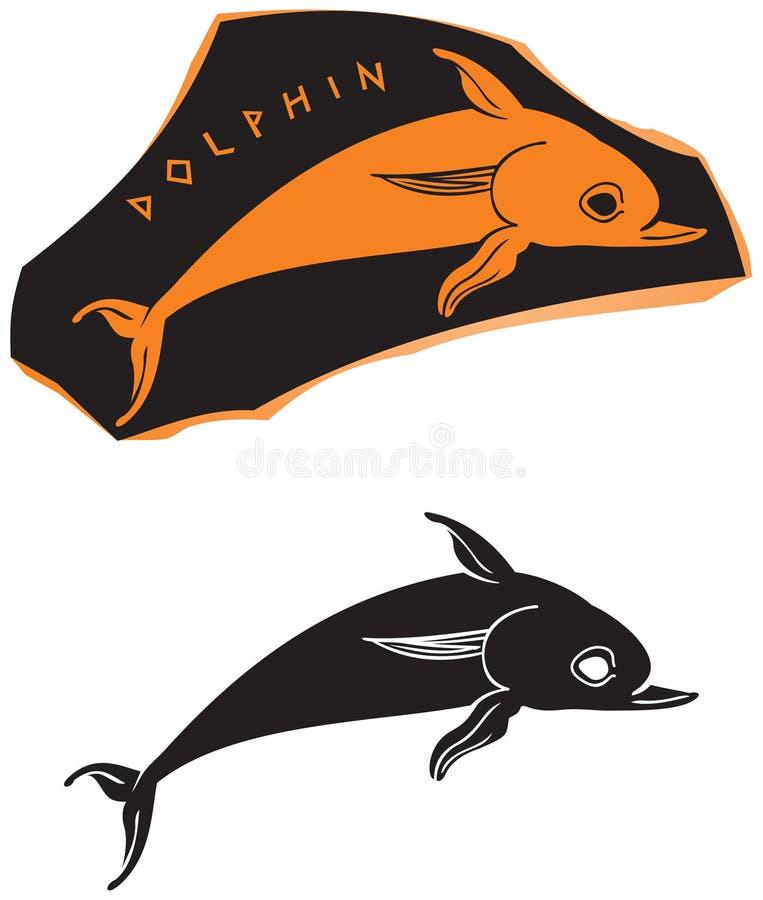 古希腊样式海豚象 库存例证