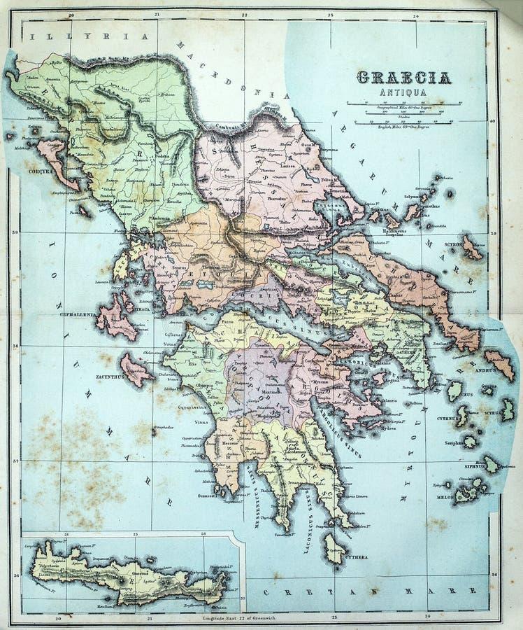 古希腊的古色古香的地图 免版税库存图片