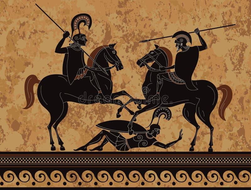 古希腊绘画 古希腊战士 库存例证