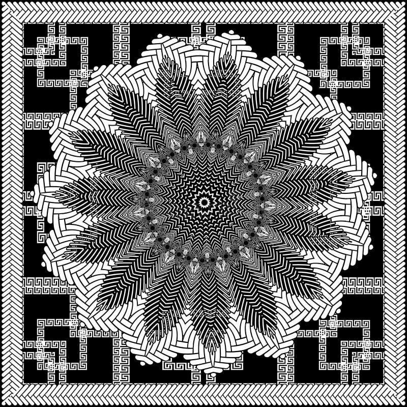 古希腊花卉传染媒介坛场样式 几何方格的装饰希腊钥匙蜿蜒背景 结辨的方形的框架 库存例证