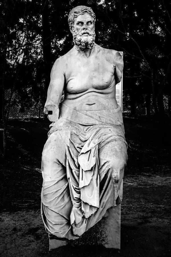 古希腊诗人荷马,伊利亚特和冒险旅行的作者的雕象在色味淡的雪茄烟 伊兹密尔,土耳其 图库摄影