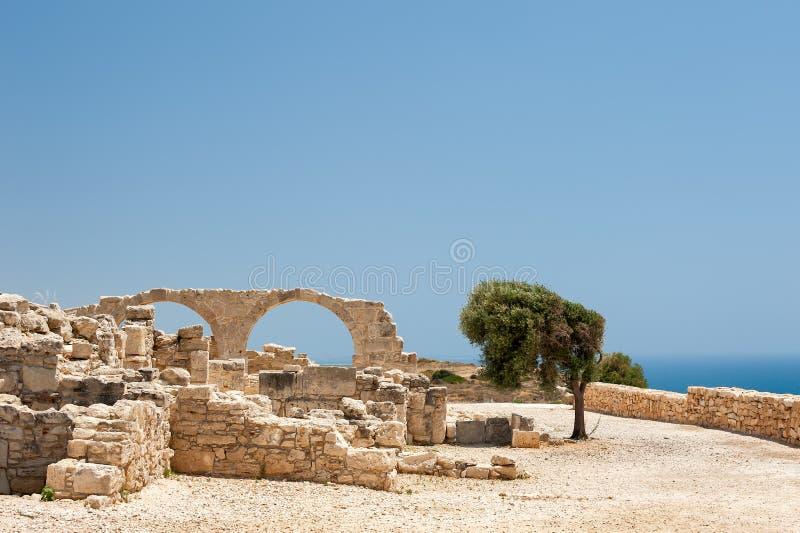 古希腊镇Kourion废墟塞浦路斯的 库存照片