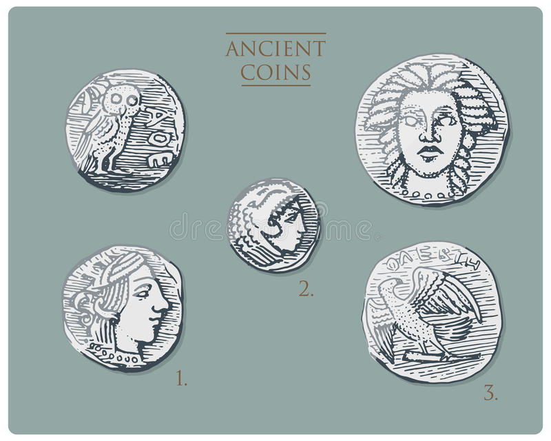 古希腊,古色古香的标志银币四德拉克马,与赫拉克勒斯, heracles和雅典娜的奖牌有猫头鹰的, demetra 向量例证