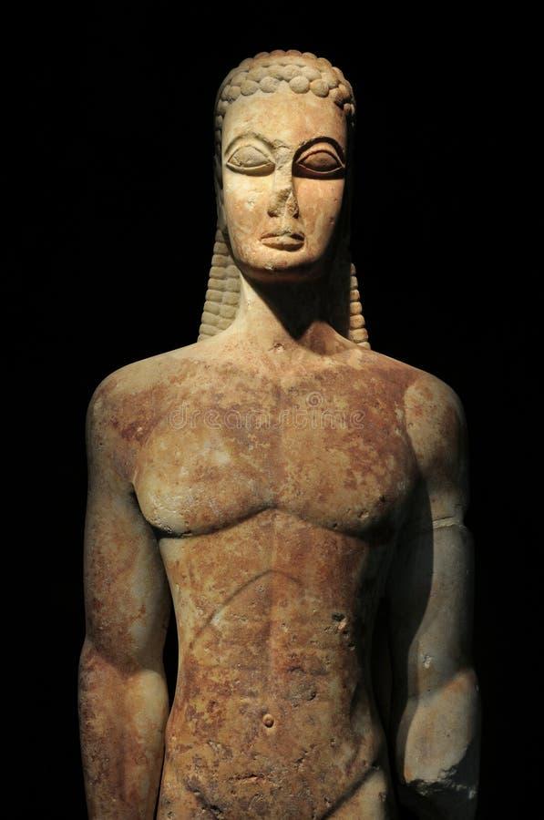 古希腊kouros雕象 库存图片