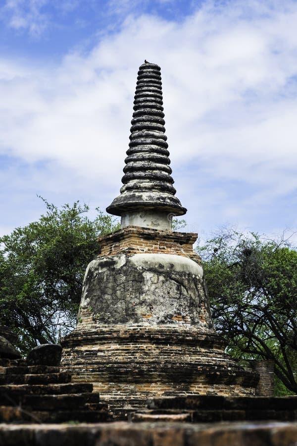 古庙和塔在阿尤特拉利夫雷斯泰国 图库摄影