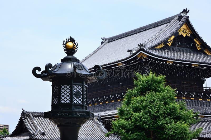 古庙和灯笼,京都日本 免版税库存照片