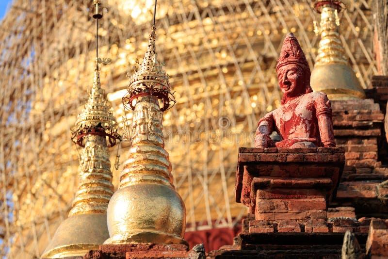 古庙细节在蒲甘,缅甸(缅甸 库存照片