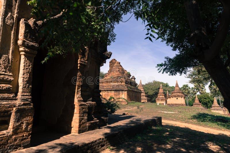 古庙细节在蒲甘,缅甸(缅甸 免版税库存图片